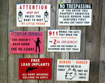 Metal Outdoor Gate and Fence signs - Lot 5