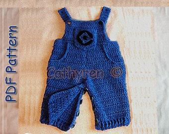 Baby Denim Overalls, Dungaree, INSTANT DOWNLOAD Crochet Pattern