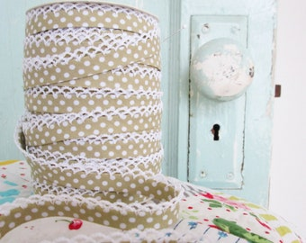 Latte Polka Dot Crochet Edge Bias Tape (No. 18)  Double Fold Bias Tape.  Sewing Supplies.  Quilt Supplies.  Quilt Binding.