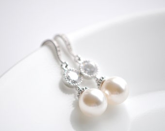 Bridal Earrings Wedding Earrings Cubic Zirconia and Pearl Earrings Pearl and Crystal Earrings Swarovski Pearl Earrings Wedding Jewelry