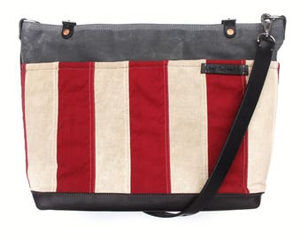 The Elzy Carnival Messenger - Vintage American Flag, Silk-Screened Contortionist, and Horween Leather Crossbody Bag - by The Daysmith