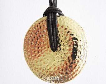 Round hammered gold necklace - dark brown rope