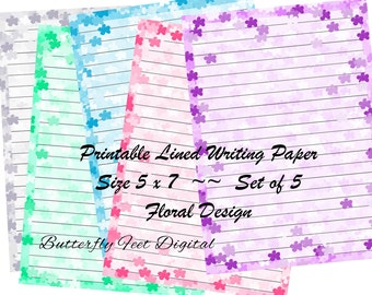 Printable Lined Writing Paper, 5x7 inch Notepaper, Floral Stationery, Art Journal Pages, Floral Borders, Instant Download