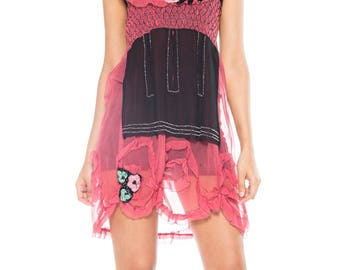 Black And Pink Beaded And Sequined Slip Dress With Smocking Size: 2