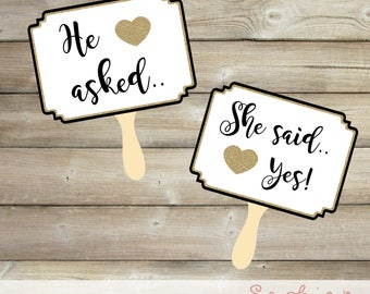 He Asked, She Said Yes Printable Black and Gold Glitter Signs, Engagement Photo Props, Save the Date Prop, Engagement Prop, Instant Download