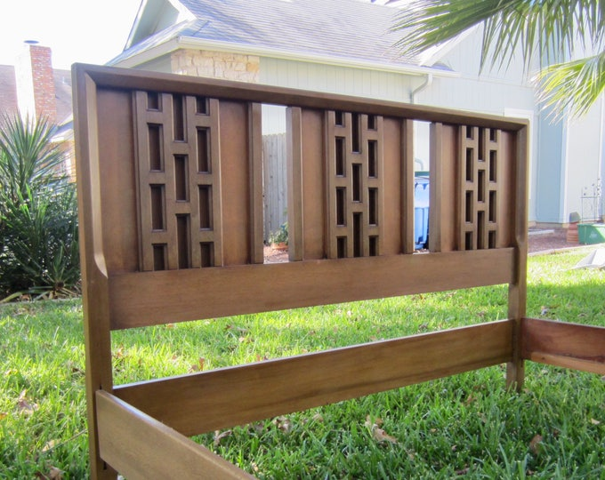 Architectural Mid Century Modern Walnut Full Size Bed, Complete with Headboard, Footboard, Rails, Geometric Details