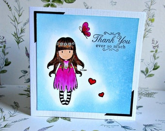 Girl in a purple dress thank you card. Thanks card. Hand stamped card. Watercolour card. Gorjuss card. Santoro Gorjuss. Flowers in hair girl