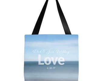 Custom Name  tote   Wedding Tote   Bridesmaid gift   Beach Tote Bag- Ocean Shore Design 16 x 16 or 18 x 18    Beach bag, summer tote