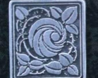 Rose in a Square Pendant in a Raised Design.