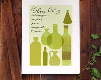 Art for kitchen - OLIVE OIL Containers / high quality fine art print by Anek