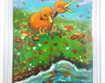 Pokemon Altered Card Hand Painted Art Doduo