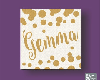 Canvas Polka Dot Confetti Name Picture -  Metallic Gold Custom Name Canvas Picture