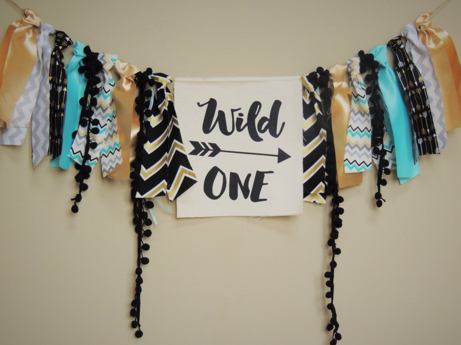 Wild One Birthday Boy Banner Aztec Tribal Decor Boys Nursery