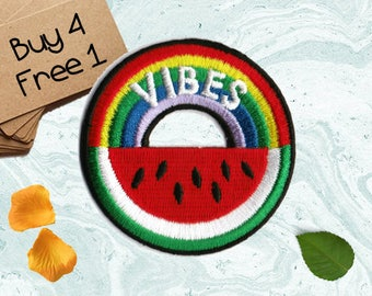 Watermelon Patch Rainbow Patches Iron On Embroidered Patches