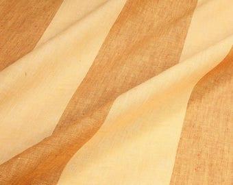 Fabric pure linen block stripes primrose yellow pink light transparency
