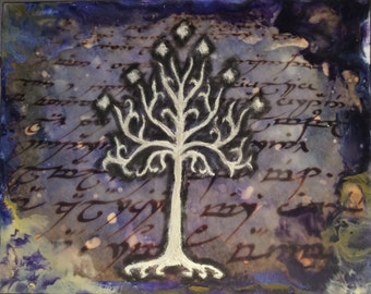 Lord of the Rings inspired White Tree of Gondor Encaustic Painting