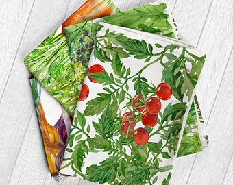 "Linen kitchen towels set ,,Vegetables"" - Tea towel - Gift idea - Home decoration - Kitchen towel"