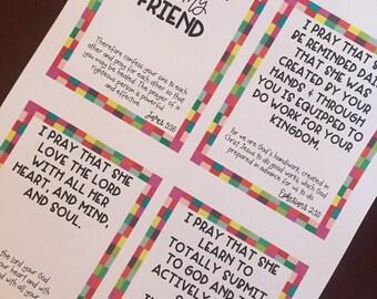 Prayers for My Prayer Partner, Friend, Sister Scripture Cards: Instant Digital Download