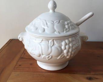 White Ceramic Fruit Detailed Punch Bowl