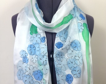 Hydrangea Silk Scarf ~ Hand Painted Silk Scarf, Blue Accessories to wear at Weddings, Summer Trends, Womens Summer Gifts, Blue Presents