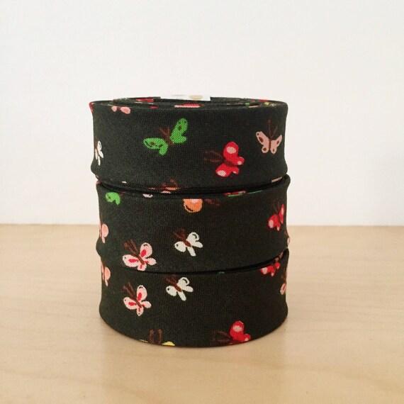 "1"" Wide Bias Tape in Heather Ross Tiger Lily Butterflies 1"" double-fold binding- Butterfly print- 2 yard roll"