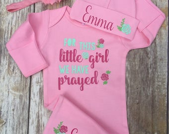 Baby Girl Coming Home Outfit, Religious Baby Girl Outfit,  Personalized Baby Girl Outfit, For This Little Girl we have Prayed, Coming Home