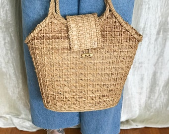 Vintage Woven Straw Basket Large Market Tote