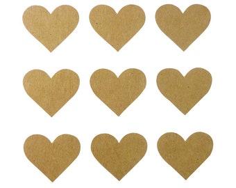 Kraft - heart - x60pcs stickers