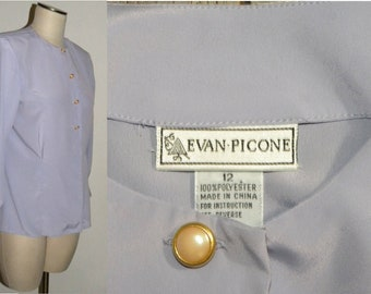 Vintage 1980s 80s Lavender Blouse / CLASSIC Work Career French Cuffs / fits like M