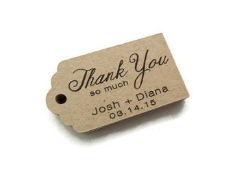 Custom Wedding Favor Tags - Thank You Tags - Personalized Tag - - 50 Count - 2.25 x 1.25 inch - Kraft Tags  - Custom Wedding Tags