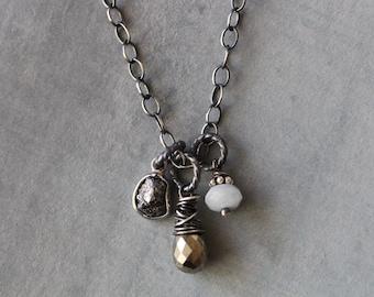 Gemstone Necklace, Raw Diamond, Genuine Diamond, Pyrite, Cluster Necklace, Trio, Wire Wrapped, Pyrite, Agate, Sterling Silver
