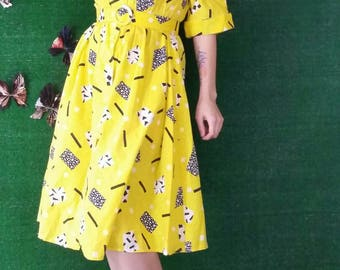 Vintage 1980s Yellow New Wave Pattern Shirt Waist Dress with Belt