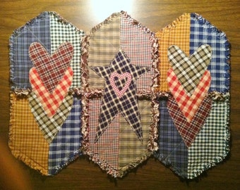 """Rag Quilt Table Mat / Candle Mat / Placemat ~ 16"""" x 21"""" ~ Country Primitive Homespun ~ Country Cottage ~ Handmade ~ Best Selling Item"""