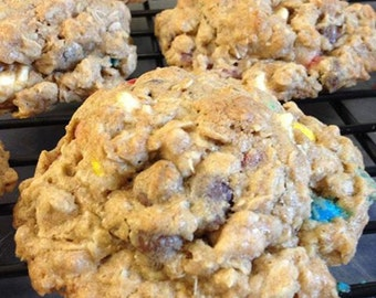 Everything But the Kitchen Sink Cookies!  4 surprise ingredients added to the oatmeal and whole wheat flour! Explosion of flavor!