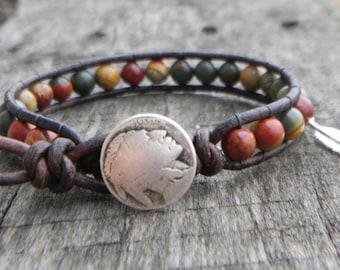 Native American Mens Jewelry Buffalo Nickel Beaded