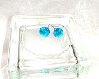 turquoise Stud Earrings fuse glass