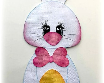premade paper piecing easter bunny with baby chick  scrapbooking embellishment by My tear bears by Kira