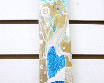 Fantasy Mermaid art  original hand painted on drift wood art - bathroom decor- mermaids