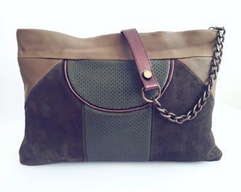 Khaki purse bag. Khaki shoulder bag. Khaki leather purse. Khaki leather bag. Leather handbag. Shoulder purse. Leather purse