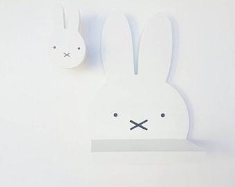 Wooden rabbit shelf - modern rabbit shelf - handmade floating rabbit shelf
