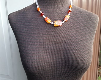 Orange Striped Lampwork And White Opalescent Glass Bead Necklace