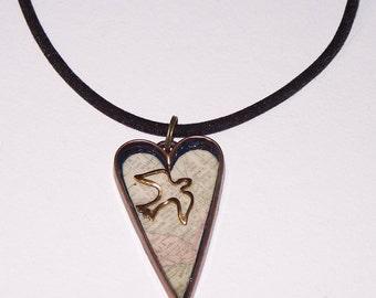escape: copper-tone heart necklace