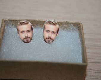Ryan Gosling Earrings, The Ellen Show, Post Stud Earrings, Celebrity Face Jewelry