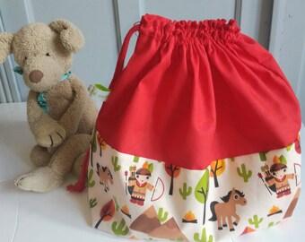 Sac de crèche, sac garderie, sac de change maternelle personnalisé petits indiens, cadeau de naissance personnalisé