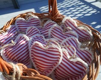Valentine's Burlap Heart Set of 6
