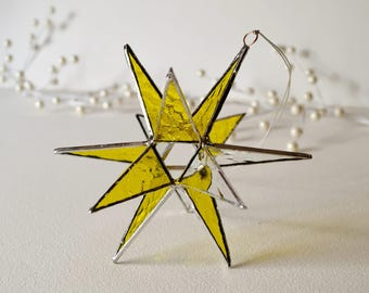 "12 Point Moravian Star. 3D Stained Glass Suncatcher. 6"" star."