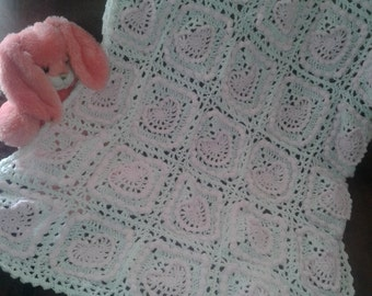 Crochet hearts baby afghan. baby blanket. baby girl blanket. baby shower gift