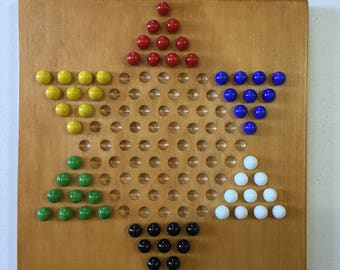 """Chinese Checkers, 11"""", Wood, Game Board, Glass Marbles, Game Boards, Wooden, Board Game, Game Night, Family Fun"""