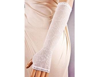 Long IVORY Wedding Fingerless Gloves Any Lenght,Wedding Gloves,Ivory Gloves,Long Wedding Gloves,Ivory Fingerless Gloves,Lace Gloves Ivory