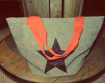 Blue Star canvas tote bag/black